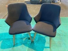 (3) Blue felt dining chair