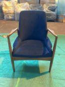Blue velvet 'Karlsson' arm chair