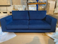 Plush indigo 'Muna' 2.5 seater sofa