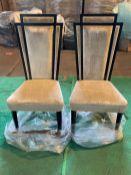 (2) Cream velvet art deco dining chair