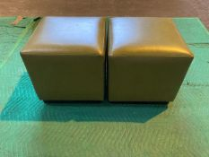 (2) Sage green leather cube shaped stools