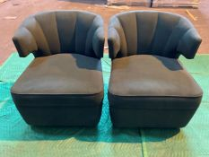 (3) Racing green velvet armchairs