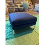 Plush indigo ottoman footstool