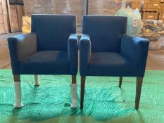 (2) Blue velvet dining chair