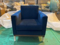 Plush indigo 'Karlsson' armchair