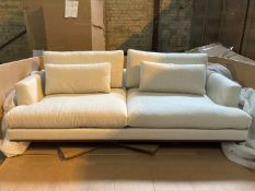 Natural white 3 seater sofa with medium oak plinth