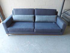 Navy & mist Warwick chanbray Edinburgh 3 seater sofa with natural oak plinth