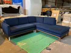 Plush indigo 'Karlsson' 3 piece corner sofa