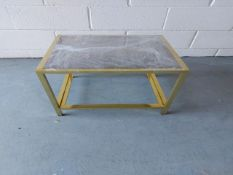 Gold frame glass topped table