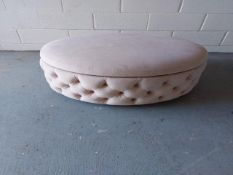 Light pink 900mm diameter deep button ottoman