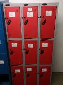 Steel Floor Standing 9 door locker bank