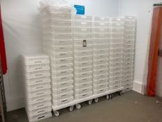 (c.85) Plastic Food Crates with (4) Mobile Plastic Dolly's