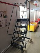 Five Tread Steel Mobile Warehouse Ladder