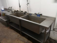 Stainless Steel Double Deep Bowl Sink Basin Unit with Spray Tap