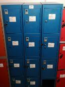 (3) Steel Floor Standing 4 door locker banks