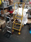 Three Tread Mobile Warehouse Ladder & Telescopic Sack Barrow