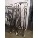 (2) Stainless Steel Seventeen Slot Baking Tray Trolleys