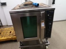 Blue Seal Turbofan 32 Max Four Tray Convection Oven on Stainless Steel Mobile Stand