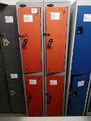 (2) Steel Floor Standing 2 door locker bank