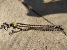 Double Leg 10mm Chain Sling c/w Safety Hook, 12T Bow Shackle and 2 Shorteners