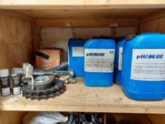 Contents of Shelf to include Mudtech PH BLUE Consumables