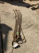 Quad Leg 7mm Chain Sling c/w C and Safety Hooks with 4 Shorteners