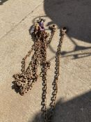 Quad Leg 10mm Chain Sling c/w Safety Hook, 4 Shorteners and 9.5T Bow Shackle with Nut and Pin