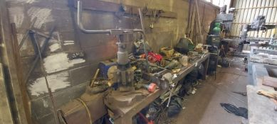 Workbench and Contents - To Include: Handtools, Vice, Manual Pipe Bender, Powertools