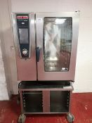 Rational SCCWE101 5 Senses 10 grid Electric Combination Oven on Mobile Stainless Steel Stand