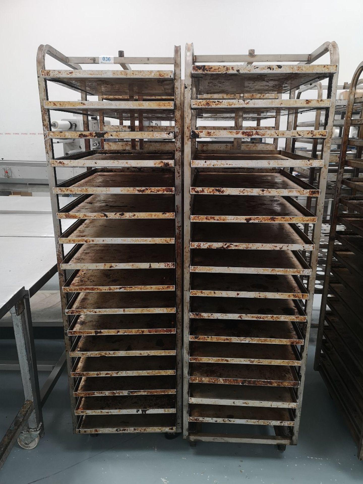 (2) Sixteen Slot Bakery Rack/Tray Stainless Steel Trollies