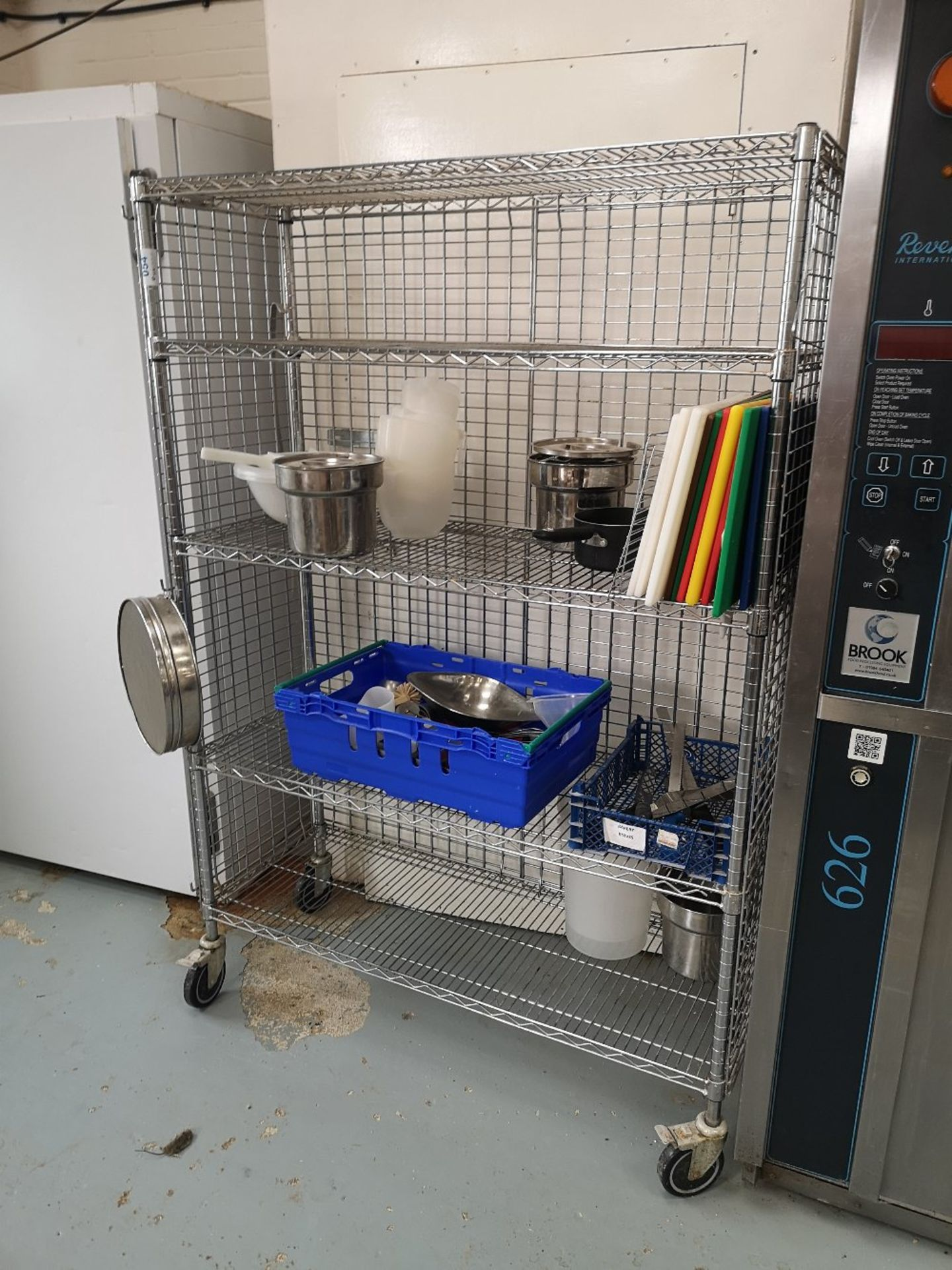 Chrome Wire Four Tier Mobile Rack & Contents - Image 2 of 5