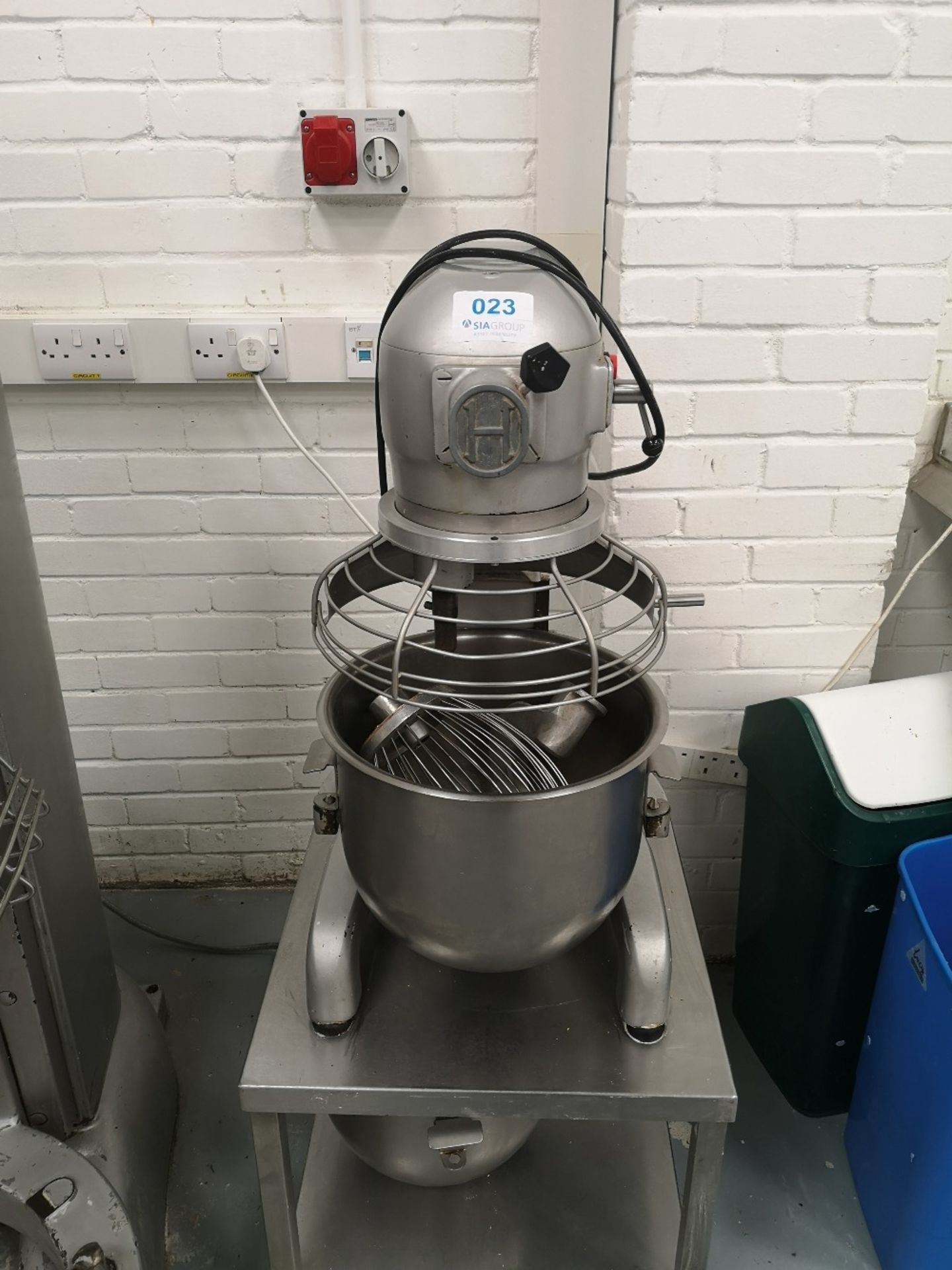 Hobart 20 QRT Planetary Mixer on Stainless Steel Mobile Stand with (2) Mixing Bowls
