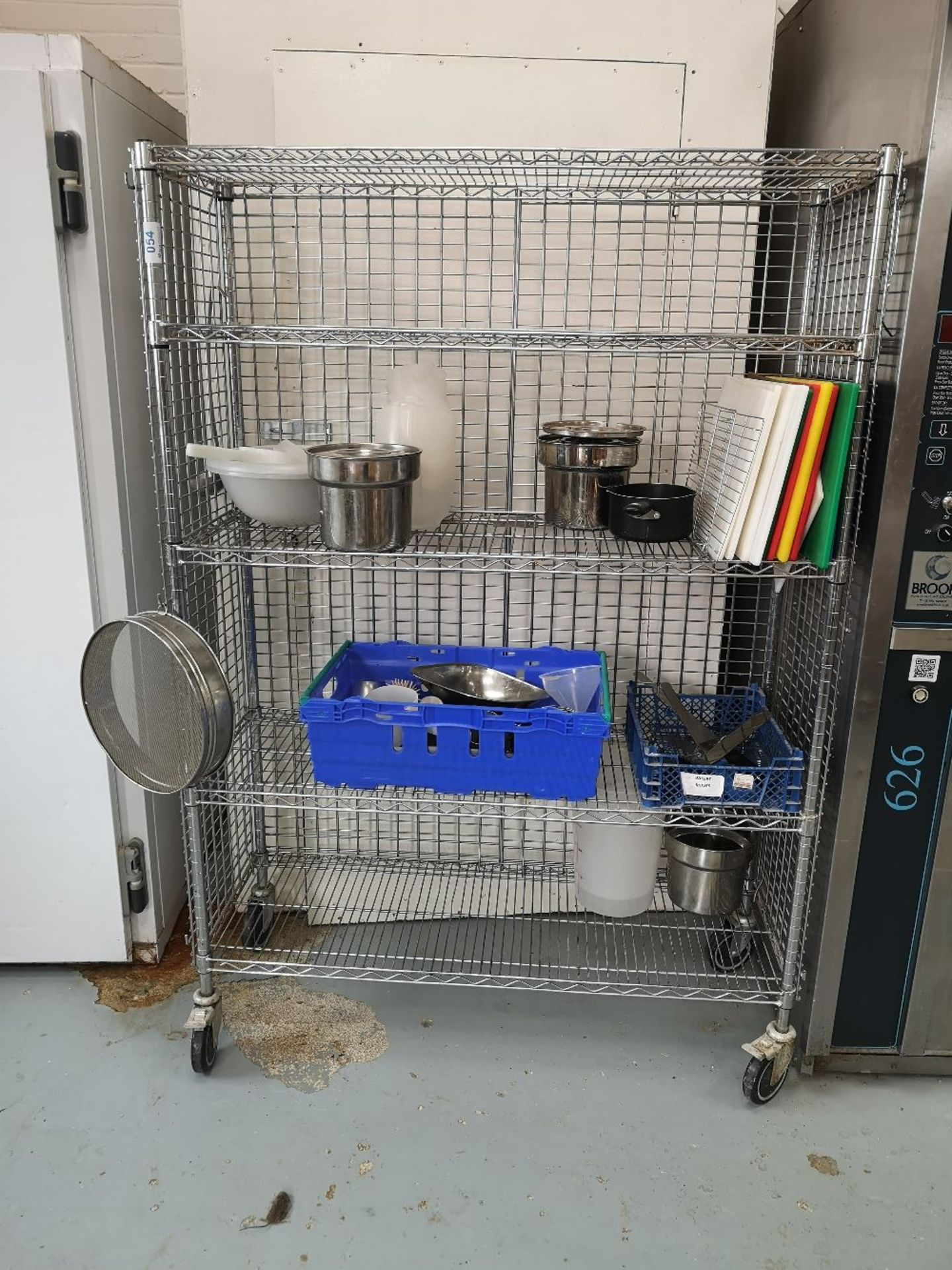 Chrome Wire Four Tier Mobile Rack & Contents