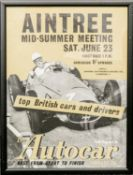Autocar original poster Aintree mid summer race meeting depicting Stirling Moss winning British