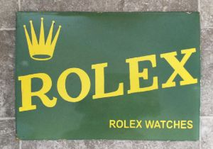 A Superb and Very Rare Original Tinplate Enamelled Rolex Advertising Sign