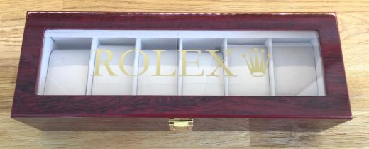 A Superb Rolex Six-Watch Display Case in Cherry Wood