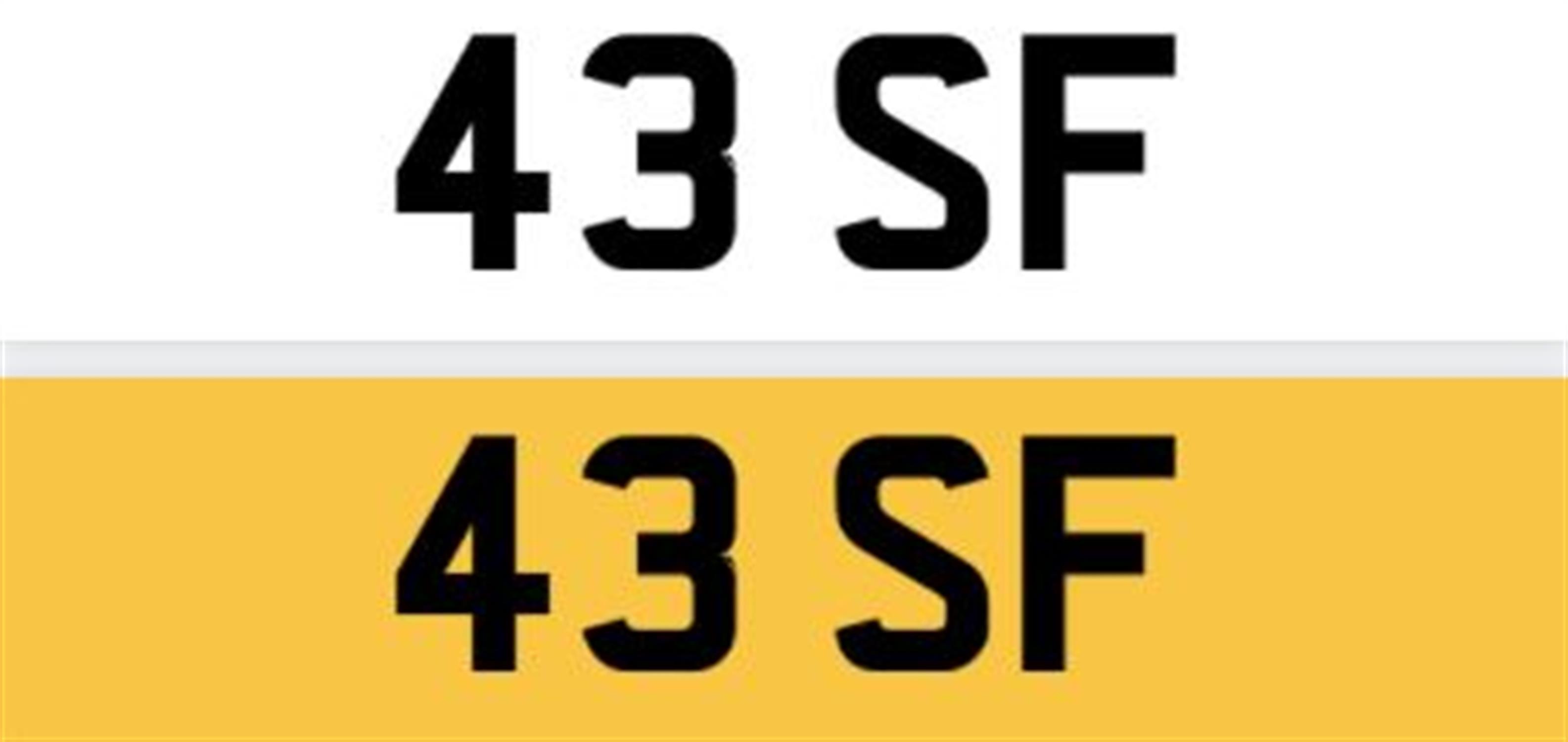 Registration Number 43 SF