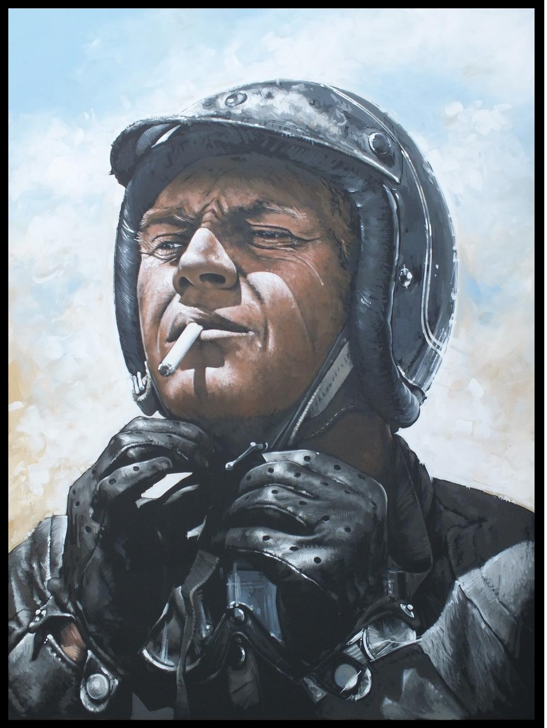 King of Cool - Steve McQueen - Original Acrylic on Board Painting by Tony Upson