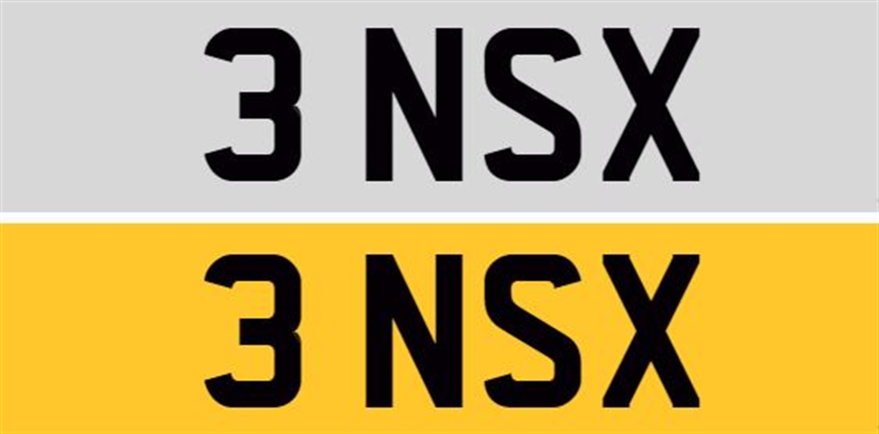 Registration Number 3 NSX and Custom-Made Number Plates