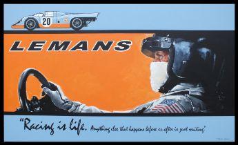 Steve McQueen Gulf Porsche - Original Acrylic on Board by Tony Upson