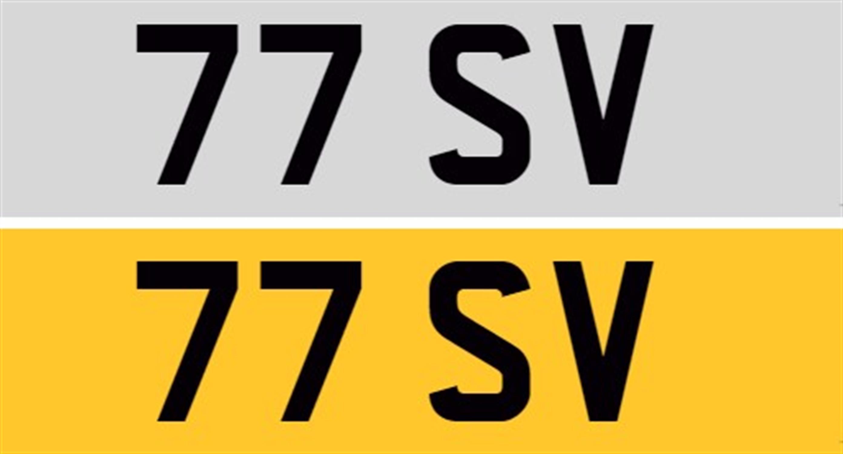 Registration Number 77 SV