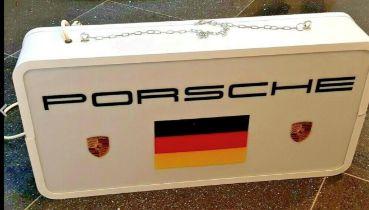 A Very Rare and Original Eighties Porsche Dealership Illuminated Hanging Aluminium Box Sign