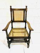 Beech and elm barley-twist open armchair.