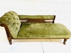Edwardian mahogany framed green velvet upholstered chaise longue.