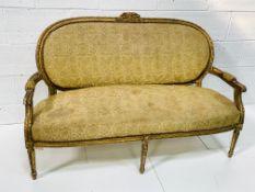 Regency gilt carved framed salon sofa.