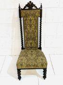 19th Century Continental mahogany barley twist hall chair.