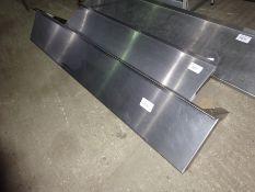 Stainless steel wall shelf with brackets, width 150cms, depth 25cms.