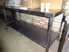 Mobile stainless steel preparation table with under shelf,