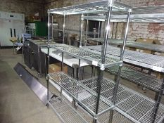 Four tier wire rack, width 120cms, depth 30cms and height 170cms.