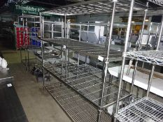 Four tier wire rack, width 182cms, depth 60cms and height 185cms.